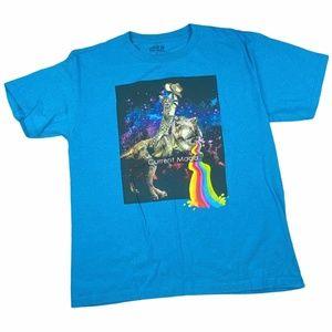 Route 66 Boy's Cat Riding Dinosaur T-Shirt Top